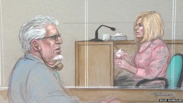 Bindi Harris gives evidence at Southwark Crown Court on 2 June 2014 watched by her father Rolf Harris