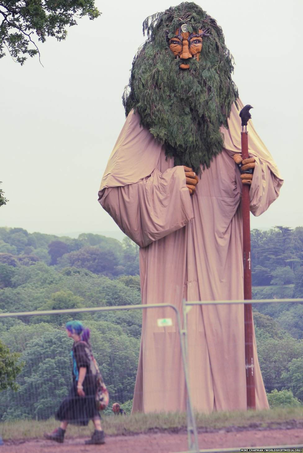 A 50ft (15m) fabric statue of Celtic sea god Manannan, created by artists from the Isle of Man, at the ninth annual Sunrise Celebration, in Piercefield Park