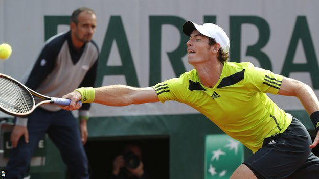 Andy Murray during his fourth-round victory against Fernando Verdasco