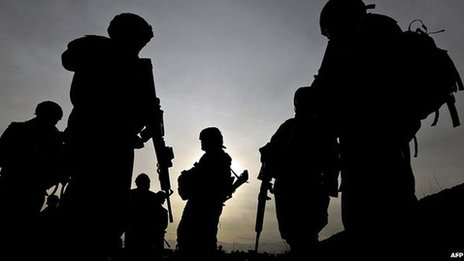 US soldiers belonging to the NATO-led International Security Assistance Force (ISAF) are silhouetted as they walk during a patrol outside Bagram airbase, 50 kms north of Kabul on 28 February 2009
