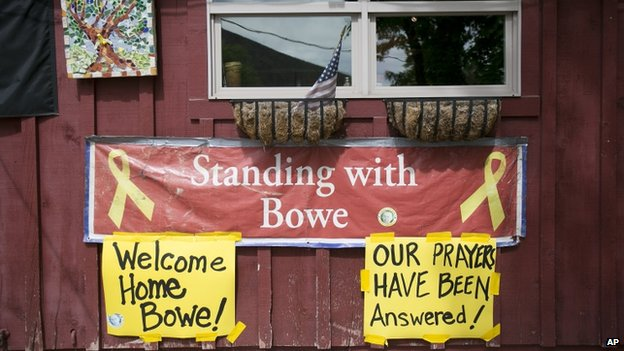 Signs celebrating Sgt Bowe Bergdahl's release hung on the front of Zaney's coffee shop in Hailey, Idaho, on 31 May 2014
