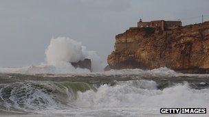 Waves crashing on the coast of Portugal