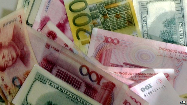 Yuan, euro and US dollar notes