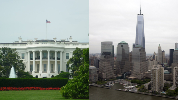 White House and Manhattan financial district