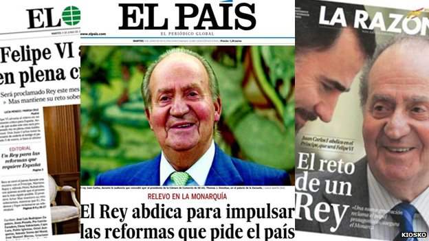 Spanish newspaper front pages