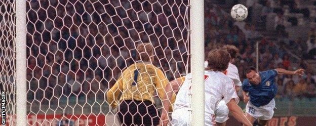 Italy striker Salvatore Schillaci scores against Czechoslovakia
