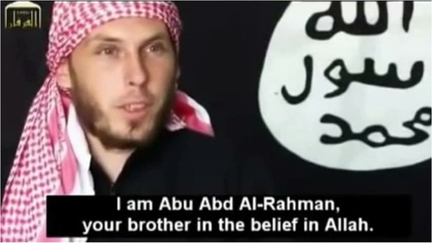 Nicolas, aka Abu Abd Al-Rahman, on an Islamist video