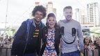 Blue Peter presenters Radzi Chinyanganya, Lindsey Russell and Barney Harwood on stage