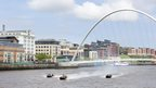 Blue Peter presenter Lindsey Russell - in the centre boat - arriving on the River Tyne accompanied by two other boast under the Millennium bridge