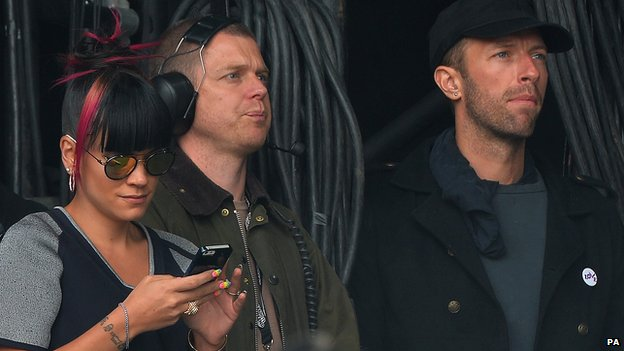 Lily Allen and Chris Martin watch Ed Sheeran at Radio 1's Big Weekend