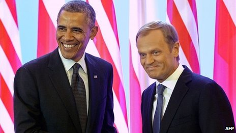 Obama and Donald Tusk, Polish PM