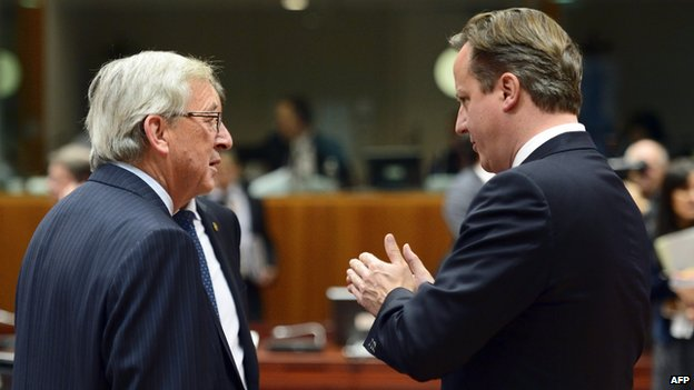 David Cameron (right) with J-C Juncker in Brussels - file pic