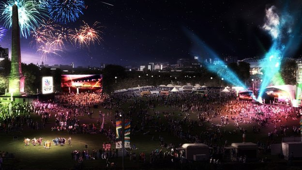 Image of Glasgow Green opening ceremony celebration event