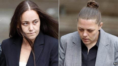 Della Woods (left) and Hayley Sulley arriving at court