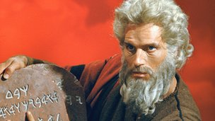 Charton Heston as Moses in The Ten Commandments
