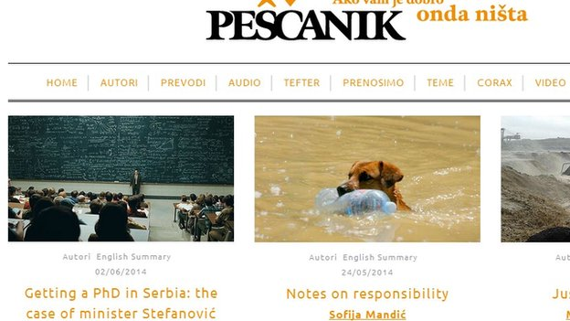 Screen grab of Pescanik homepage