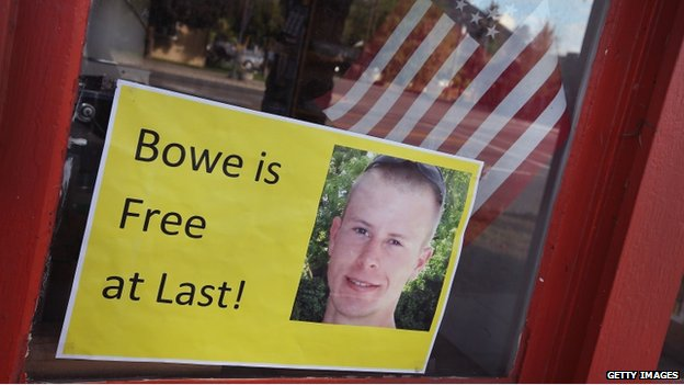 A sign in a shop window in Hailey, Idaho celebrates Bergdahl's release