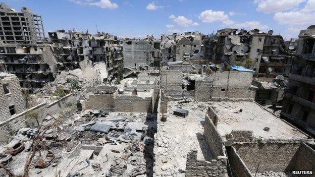 Damaged Aleppo buildings