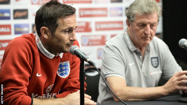 England midfielder Frank Lampard with manager Roy Hodgson