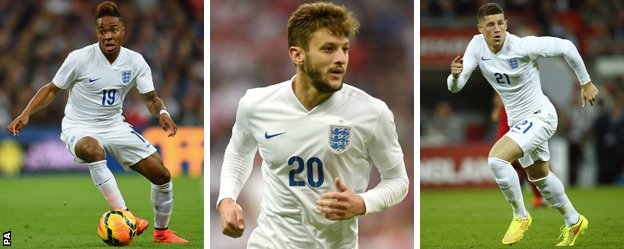 England trio Raheem Sterling, Adam Lallana and Ross Barkley