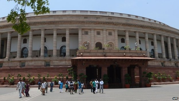 Parliament House as preparations for the newly elected MPs of the 16th Parliament are put in place in Delhi on May 15, 2014