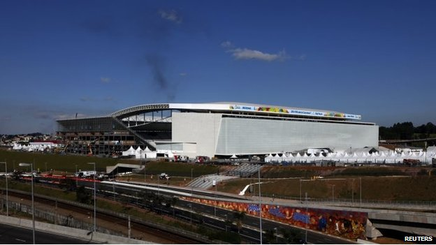 Arena de Sao Paulo Stadium, one of the venues for the 2014 World Cup on 3 June, 2014