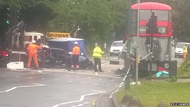 Bus crash scene in Clapton