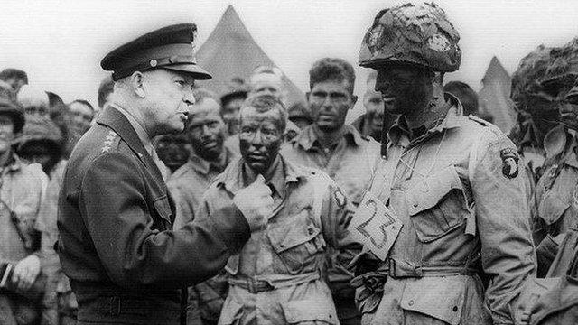 General Eisenhower addresses troops following the Normandy landings