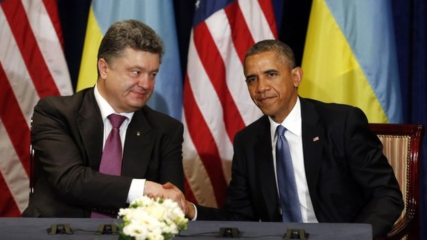 Ukraine President-elect Petro Poroshenko and US President Barack Obama in Warsaw, 4 June 2014.