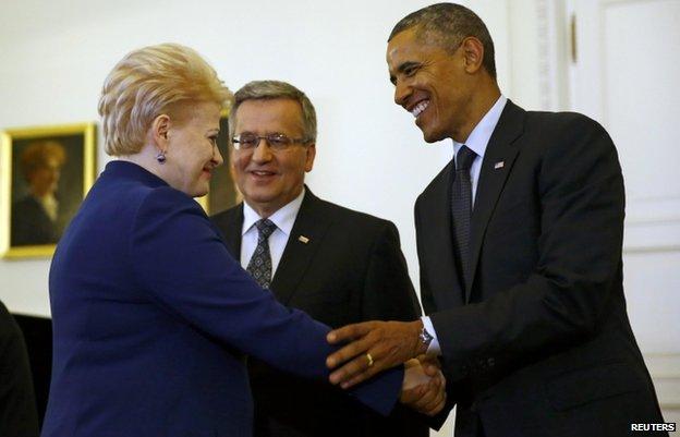 Lithuanian President Dalia Grybauskaite met President Obama in Poland on Wednesday