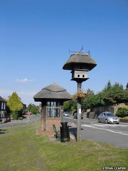 This dovecote and thatched bus shelter sit beside the A25 in Westcott, Surrey