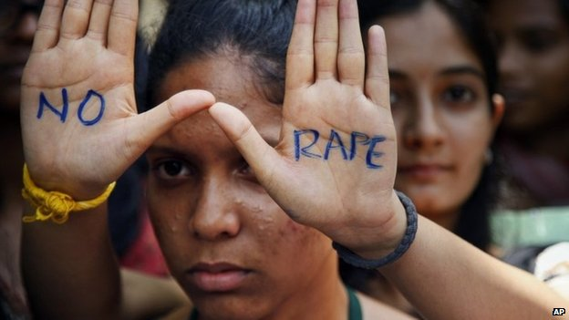 An anti-rape protest in Hyderabad, India on Sept 13, 2013.