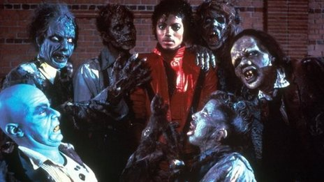 Michael Jackson with 'zombies' in his 1983 Thriller video