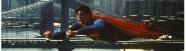 Christopher Reeve playing Superman in the 1978 film