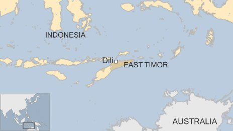 Map showing East Timor, Indonesia and Australia