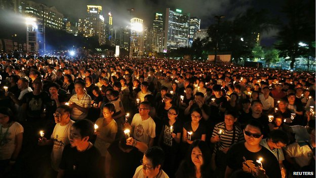 Candlelight vigil at Hong Kong's Victoria Park on 4 June 2014
