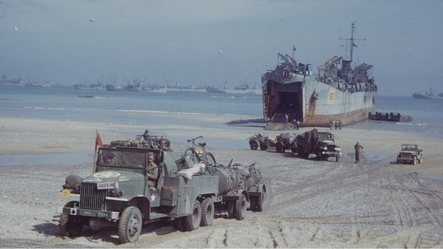 D-day landing truck and ship