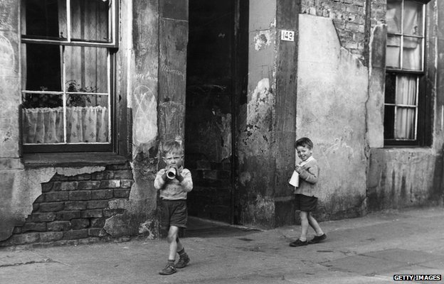 Boys on street - 1950s