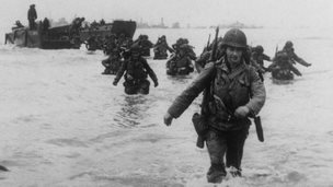 American troops land on Utah beach.