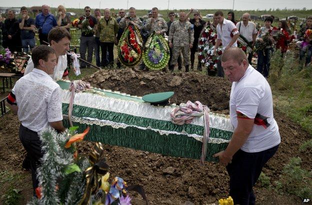 Funeral of a rebel fighter in Luhansk, 4 June