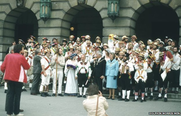 Morris men outside the Council House, Nottingham, in 1981