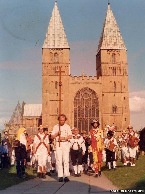 Morris men at Southwell Minster in 1981