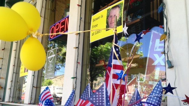 Flags and balloons in Hailey, Idaho, on 4 June 2014, marked Sgt Bowe Bergdahl's release