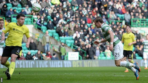 Stefan Johansen scores for Celtic against St Mirren