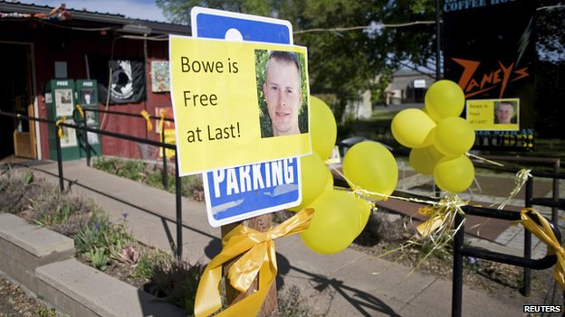 "Signs of support with images of U.S. Army Sergeant Bowe Bergdahl are displayed outside Zaney""s coffee shop in Hailey, Idaho in this file photo taken May 31"