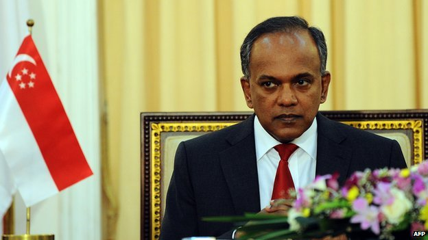 Singapore Foreign Minister K. Shanmugam looks on during an agreement signing ceremony in Colombo on 3 April, 2014
