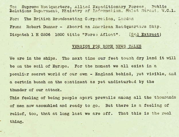 Dunner report from aboard American ship