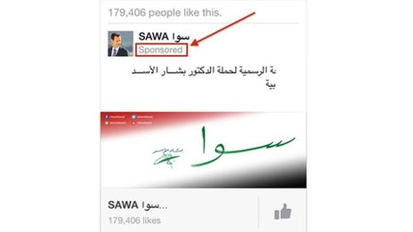 An Facebook advert for the Assad page