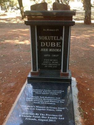Nokutela Dube's headstone