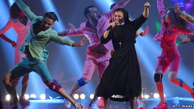 Sister Cristina performs on The Voice Of Italy on 7 May 2014